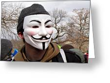 Guy Fawkes Mask At Political Demonstration Greeting Card