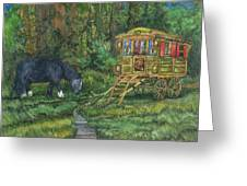Gwendolyn's Wagon Greeting Card by Casey Rasmussen White