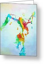 Gymnast Watercolor Paint Splatter Greeting Card