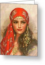 Gypsy Girl Portrait Greeting Card