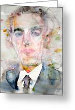 H. P. Lovecraft - Watercolor Portrait.3 Greeting Card