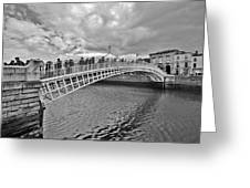 Ha' Penny Bridge In Black And White Greeting Card