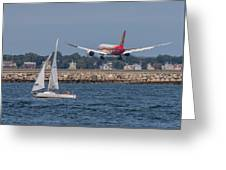 Hainan Airlines 787 Dreamliner Landing At Logan Greeting Card
