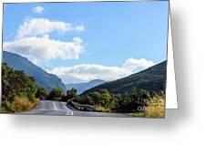 Hairpin Curve On Greek Mountain Road Greeting Card