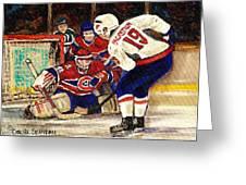 Halak Blocks Backstrom In Stanley Cup Playoffs 2010 Greeting Card by Carole Spandau