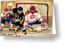 Halak Catches The Puck Stanley Cup Playoffs 2010 Greeting Card