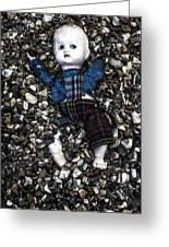 Half Buried Doll Greeting Card