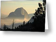 Half Dome And Fog At Olmsted Point In Yosemite Greeting Card