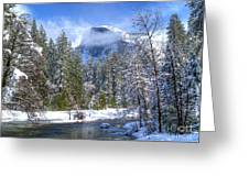 Half Dome And The Merced River Greeting Card