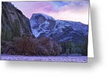 Half Dome Fall And Snow Greeting Card