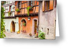 Half-timbered House Of Eguisheim, Alsace, France.  Greeting Card