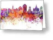 Halifax V2 Skyline In Watercolor Background Greeting Card