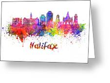 Halifax V2 Skyline In Watercolor Splatters With Clipping Path Greeting Card