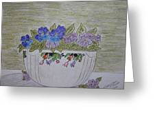 Hall China Crocus Bowl With Violets Greeting Card