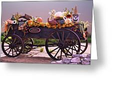 Halloween Cart Full Of Fall Harvest Goodies  Greeting Card