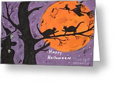 Halloween Cat Fight Greeting Card