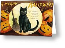 Halloween Greetings With Black Cat And Carved Pumpkins Greeting Card