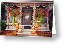 Halloween In A Small Town Greeting Card