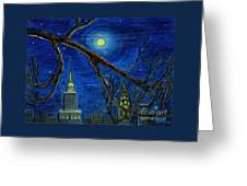 Halloween Night Over New York City Greeting Card by Anna Folkartanna Maciejewska-Dyba