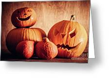 Halloween Pumpkins, Carved Jack-o-lantern. Greeting Card