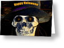 Halloween Skull With Hat Greeting Card