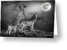 Halloween - Spirits Of The Wolf Greeting Card