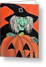Halloween Witch And Pumpkin Art Greeting Card
