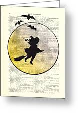 Witch Flying With Full Moon Greeting Card