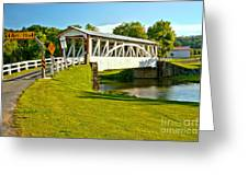 Halls Mill Covered Bridge Landscape Greeting Card