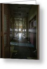 Hallway With Solitary Confinement Cells In Prison Hospital Greeting Card