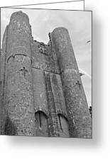 Hammond Castle Detail - Black And White Greeting Card
