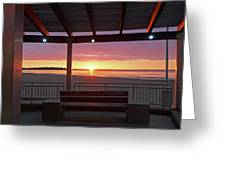 Hampton Beach Sunrise Hampton Beach State Park Hampton Nh Bench 2 Greeting Card