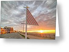 Hampton Beach Sunrise Hampton Beach State Park Hampton Nh Flag Greeting Card