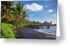Hana Bay Palms Greeting Card by Inge Johnsson