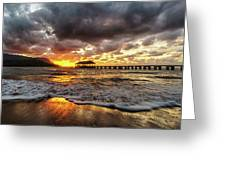 Hanalei Pier Reflections Greeting Card