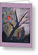 Hand In Hand Walk Under The Moon Greeting Card