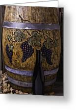 Hand Carved Wine Barrel Greeting Card