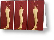 Hand Carved Wood Leg Lamp Greeting Card