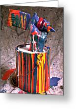 Hand Coming Out Of Paint Can Greeting Card by Garry Gay
