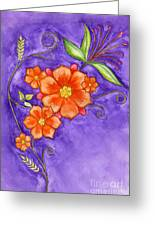 Hand Drawn Pencil And Watercolour Flowers In Orange And Purple Greeting Card