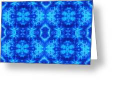 Hand-dyed Blue And Turquoise Fabric With Zig Zag Stitch Details  Greeting Card