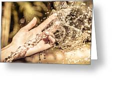 Hand Of A Woman Catching Water Stream Greeting Card