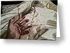 Hand On Comforter Greeting Card
