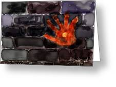 Hand On The Hole On The Wall Greeting Card