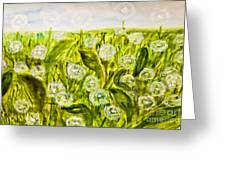 Hand Painted Picture, Meadow With White Dandelines Greeting Card