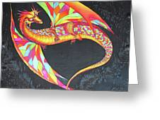 Hand Painted Silk Scarf Dragon On Black Greeting Card