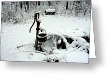 Hand Pump In The Winter Greeting Card