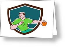 Handball Player Throwing Ball Crest Cartoon Greeting Card
