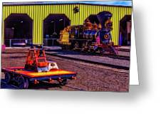 Handcar And Old Train Greeting Card