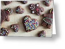 Handmade Decorated Gingerbread Heart And People Figures Greeting Card